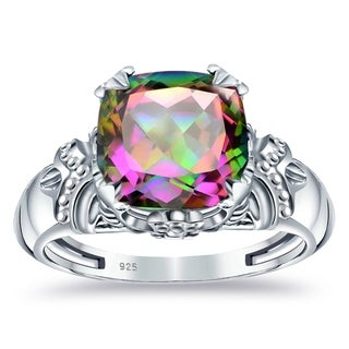 Created Gemstone 4 8 Carat Multi Color Mystic Topaz Sterling Silver Rings