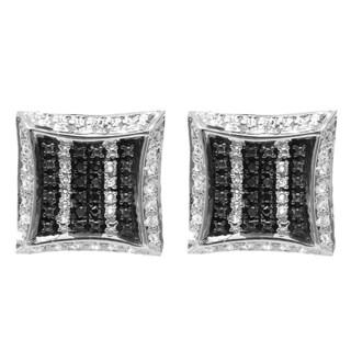 14k Black Gold 1/10ct TW White and Black Diamond Pave Setting Kite Stud Earrings (I-J, I2-I3)