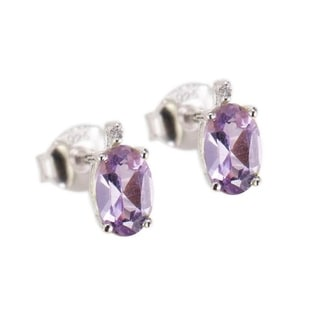 Sterling Silver 0.89ct Oval Amethyst and White Diamond Stud Earring