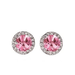 14k White Gold 1ct TW Pink Sapphire and White Diamond Halo Stud Earrings (I-J, I1-I2 )