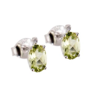 Sterling Silver 1ct Oval Peridot and White Diamond Stud Earring