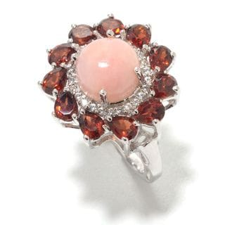 Sterling Silver 4.43cttw Pink Opal, garnet and White Zircon Flower Ring