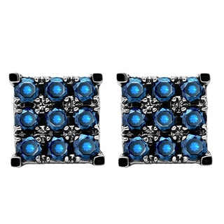 10k White Gold 1ct TW Round Blue Diamond Men's Square Shaped Stud Earrings (I1-I2)