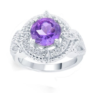 Sterling Silver 2.94ct Round Amethyst and White Topaz Ring