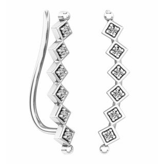 10k Gold 1/6ct TW Round-cut White Diamond Sweep Up Square Ear Climber Earrings (I-J, I2-I3)