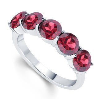 Sterling Silver 3.25ct Round Garnet Five stone Ring