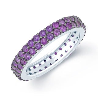 Sterling Silver 2.50ctw Amethyst Double Row Eternity Band Ring