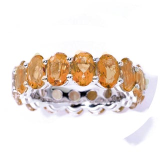 Sterling Silver 8.36 Ct Oval-Cut Citrine Eternity Band Ring