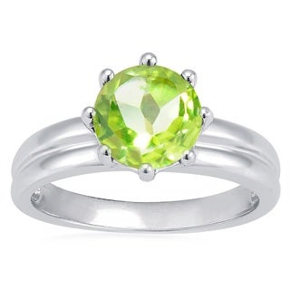 Sterling Silver 2.10ct Round Peridot Solitaire Ring