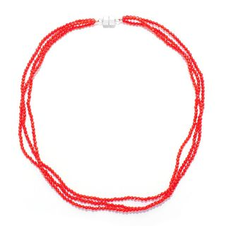 "Sterling Silver Three Strand Coral Bead Necklace (20"" inches)"