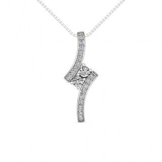 De Couer 10K White Gold 1/2ct TDW Diamond Two Stone Necklace - White H-I