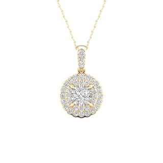De Couer 10K Yellow Gold 1/4ct TDW Diamond Cluster Halo Necklace