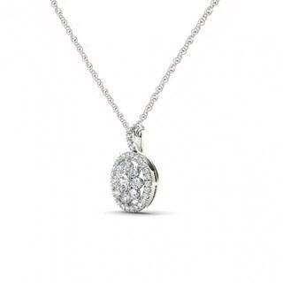 De Couer 10K White Gold 2/5ct TDW Diamond Cluster Halo Necklace - White H-I