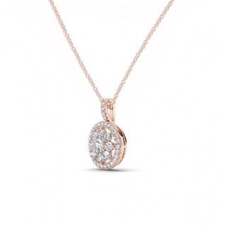 De Couer 10K Rose Gold 2/5ct TDW Diamond Cluster Halo Necklace - Pink