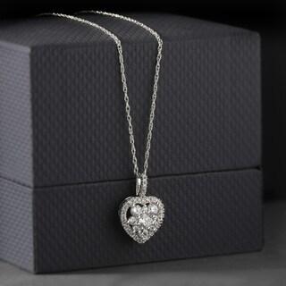 De Couer 10k Yellow Gold 2/5ct TDW Heart Shape Diamond Necklace