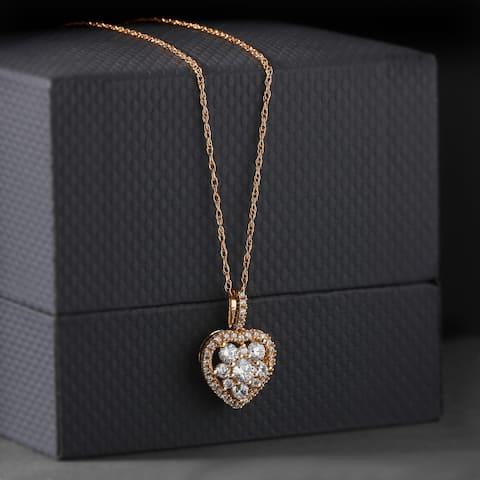 De Couer 10k Rose Gold 2/5ct TDW Heart Shape Diamond Necklace - Pink