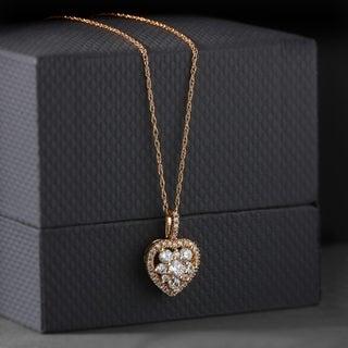 De Couer 10k Rose Gold 3/8ct TDW Heart Shape Diamond Necklace (H-I, I2)