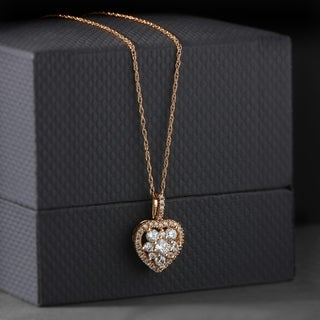 De Couer 10k Rose Gold 2/5ct TDW Heart Shape Diamond Necklace - Pink