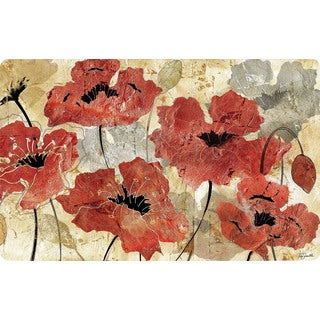 Home Dynamix Cushy Comfort Collection Red Floral 18 x 30 Anti-fatigue Kitchen Mat