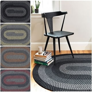 Hipster Braided Textured Oval Rug (4' x 6')
