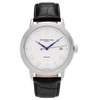 Raymond Weil Men's 'Maestro' 2837-STC-00308 Stainless Steel Roman Numeral Leather Strap Watch