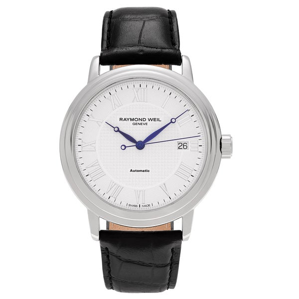 70f10f494 Shop Raymond Weil Men's 'Maestro' 2837-STC-00308 Stainless Steel Roman  Numeral Leather Strap Watch - Free Shipping Today - Overstock - 13554468