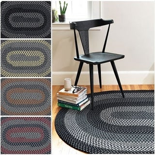 Hipster Braided Textured Oval Rug (6' x 9')