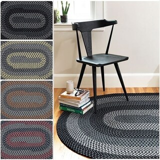 Hipster Braided Textured Oval Rug (5' x 7') - 5' x 7'