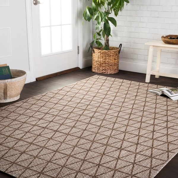 Indoor/ Outdoor Beige/ Mocha Geometric Patio Rug - 9'2 x 12'1