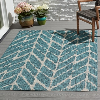 Indoor/ Outdoor Havannah Abstract Chevron Rug (9'2 x 12'1)