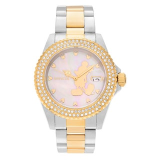 Invicta Women's 22729 Disney Two Tone Stainless Steel Cubic Zirconia Mother of Pearl Dial Link Bracelet Watch