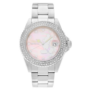 Invicta Women's 22727 Disney Stainless Steel Cubic Zirconia Mother of Pearl Dial Link Bracelet Watch