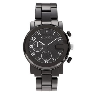 Gucci Men's 'G-Chrono' YA101352 Black Ion Plated Chronograph Link Bracelet Watch