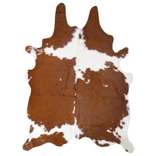 Real Brown and White Cowhide Rug (7' x 6')