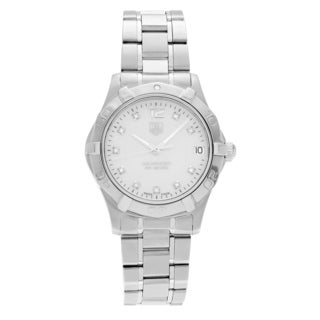 Tag Heuer Women's WAF1312.BA0817 'Aquaracer' Stainless Steel 1/10 CT TDW Diamond Link Bracelet Watch