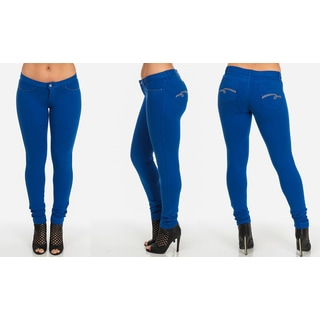 Women's Blue Cotton, Spandex Skinny Pants with Embellished Pockets