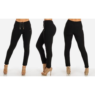 Junior's Black Polyester/Spandex Stretchy High-waist Skinny Pants