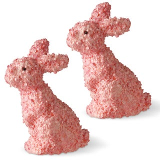 National Tree Company Pink Plastic 11-inch Rabbit Figurines (Set of 2)