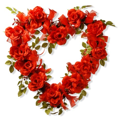Valentine Heart Synthetic Rose 16-inch Wreath