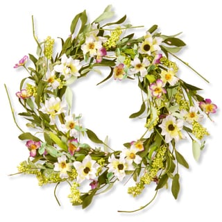 National Tree Company White/Purple Mixed Flowers 20-inch Floral Wreath Decor