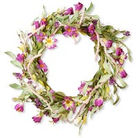 National Tree Company Purple Mixed Flowers Fabric 20-inch Floral Wreath Decor