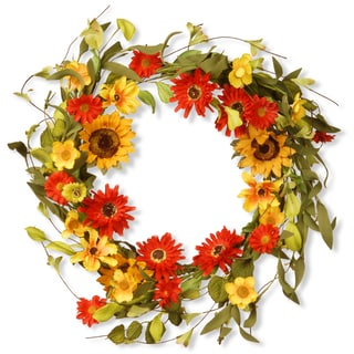 National Tree Company Orange/Yellow Sunflowers/Mixed Flowers 20-inch Floral Wreath Decor