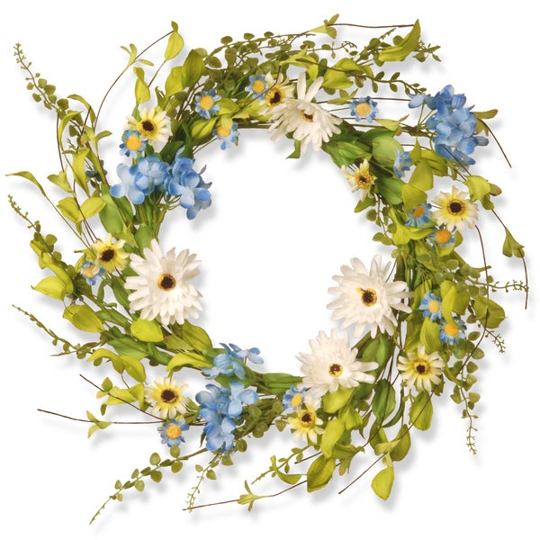 Shop national tree company 20 inch floral wreath decor white and national tree company 20 inch floral wreath decor white and blue hydranga and gerbera flowers mightylinksfo