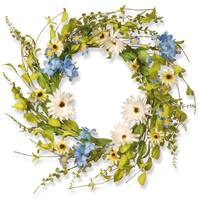 National Tree Company 20-inch Floral Wreath Decor White and Blue Hydranga and Gerbera Flowers