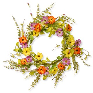 National Tree Company Multicolored Silk 20-inch Floral Wreath Decor