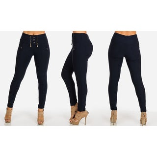 Juniors' Blue Polyester and Spandex Stretchy High-waist Skinny Pants