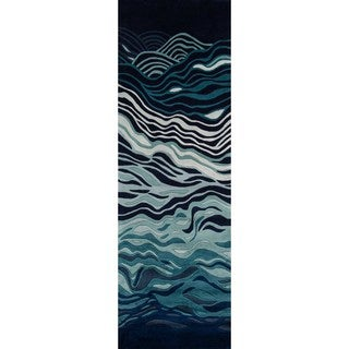 """Momeni New Wave Grey Hand-Tufted and Hand-Carved Wool Runner Rug (2'6 X 12') - 2'6"""" x 12'"""