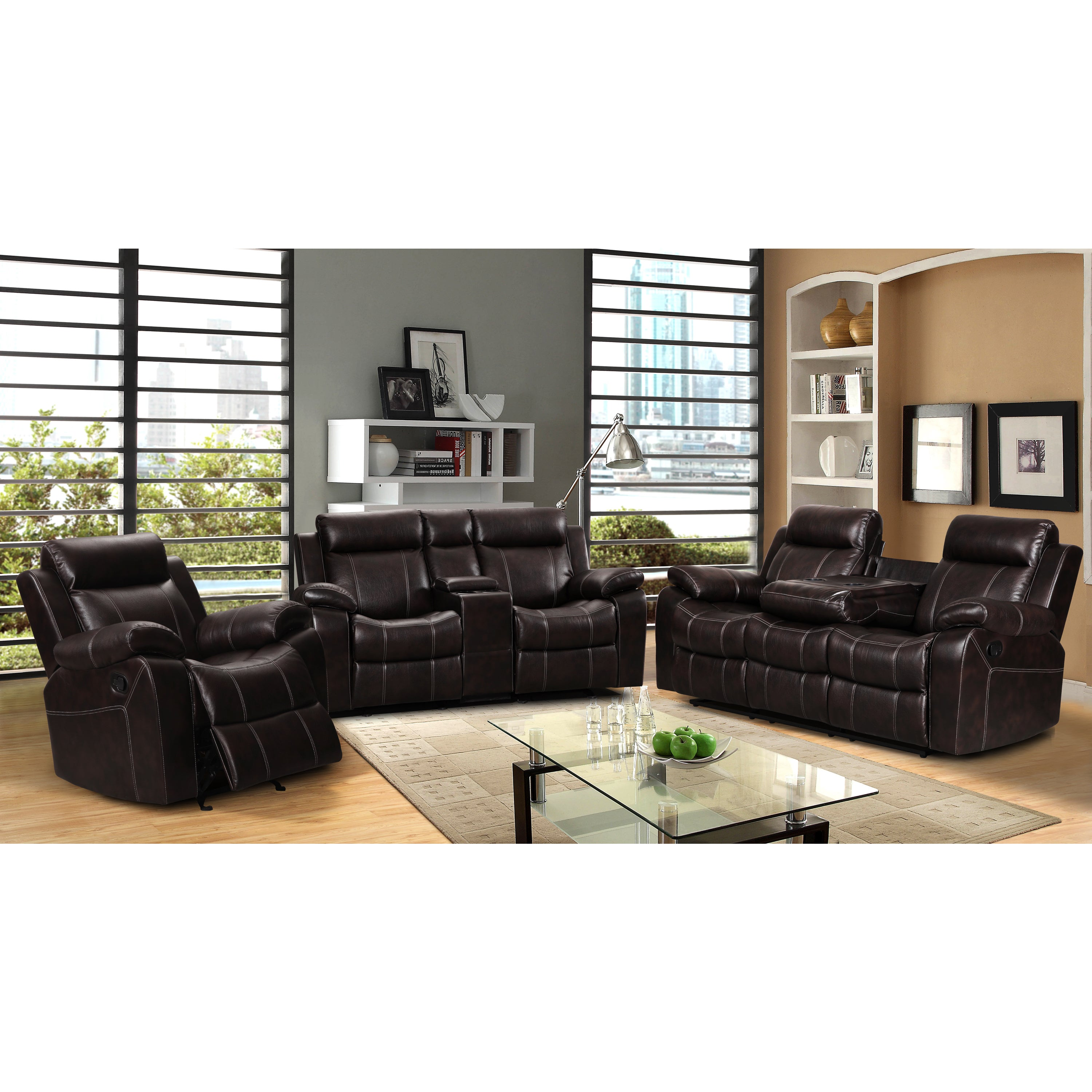 Swell Sherry Dark Brown Leather Air 3 Pc Reclining Sofa Set And Rocking Chair Inzonedesignstudio Interior Chair Design Inzonedesignstudiocom