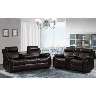Sherry Dark Brown Leather Air 2 pc Reclining Sofa and Gliding Loveseat set|https://ak1.ostkcdn.com/images/products/13554619/P20232362.jpg?impolicy=medium