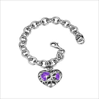 Di Modolo Rhodium-plated Sterling Silver Charm with Amethyst Bracelet